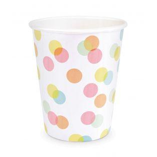 8 vasos de papel 25 cl - confeti