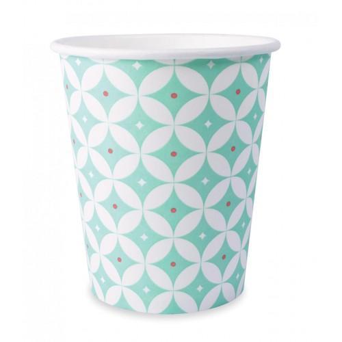 8 vasos de papel 25 cl - rosetones