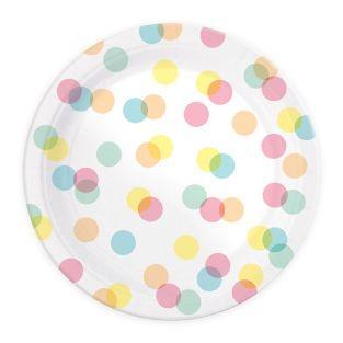 8 platos de papel Ø 23 cm - confeti