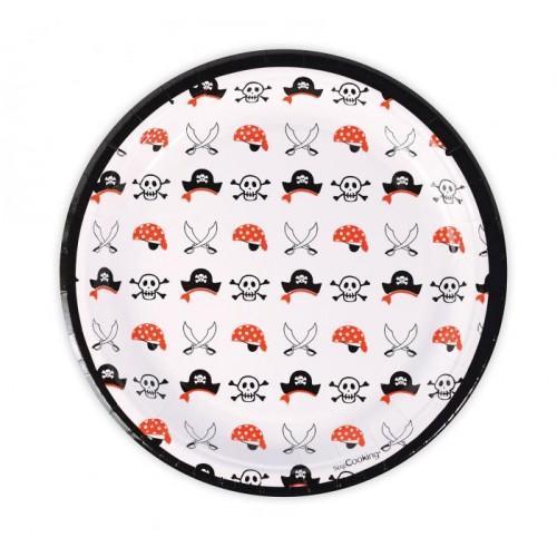 8 platos de papel Ø 23 cm - pirata