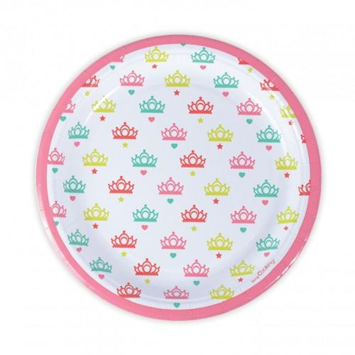 8 platos de papel Ø 23 cm - princesa