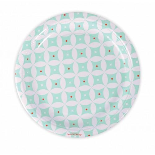 8 platos de papel Ø 23 cm - rosetones