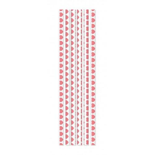 20 pajitas de papel - corazones rosados