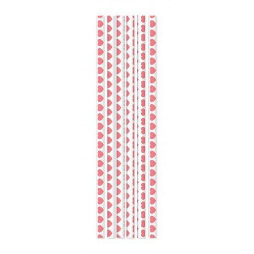 20 paper straws - Pink Hearts