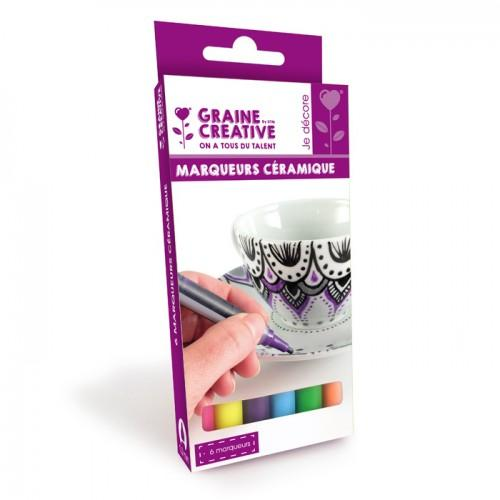 6 ceramic markers - bright colors
