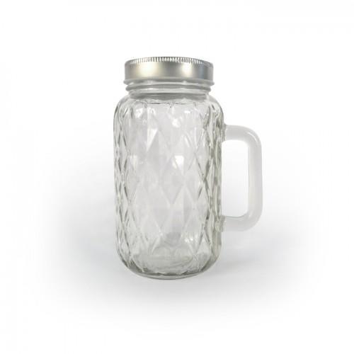 Taza Mason Jar con cubierta y manija 71 cl - Diamante
