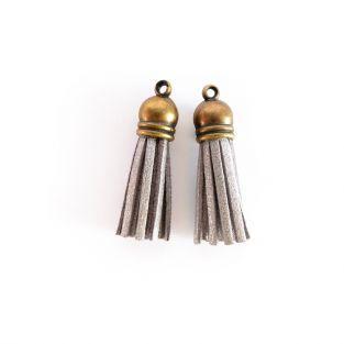 2 suede Tassels 4 m - Silver