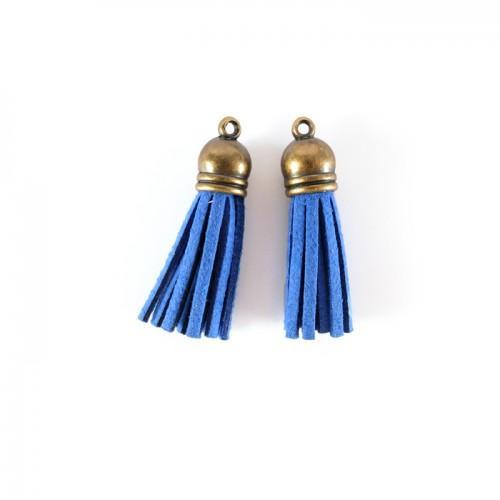 2 minis pompons en suédine 4 m - bleu