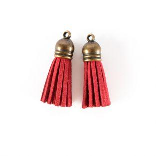 2 suede Tassels 4 m - Red