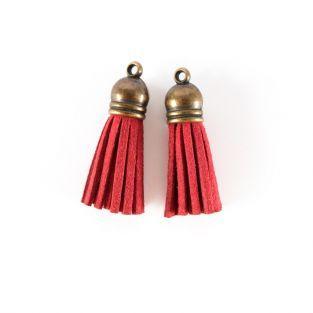 2 suede Tassels 4 m - Red