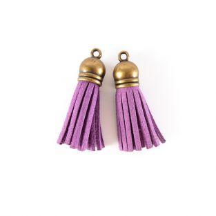 2 minis pompons en suédine 4 m - violet