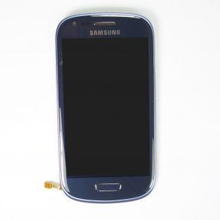 Original Vitre tactile écran LCD sur châssis Samsung Galaxy S3 mini I8190 bleu