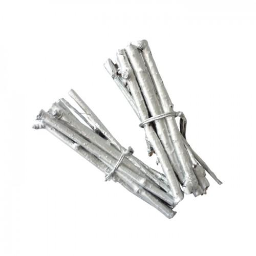 4 mini bundles of twigs 7 cm - silver