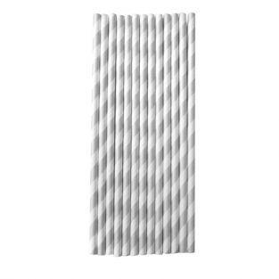 25 pailles en papier 20 cm - argenté