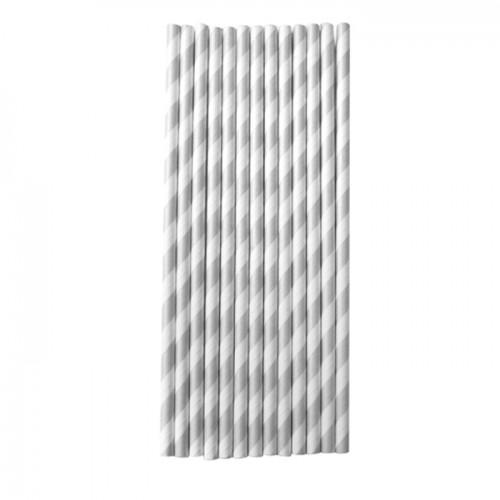 25 paper straws 20 cm - silver