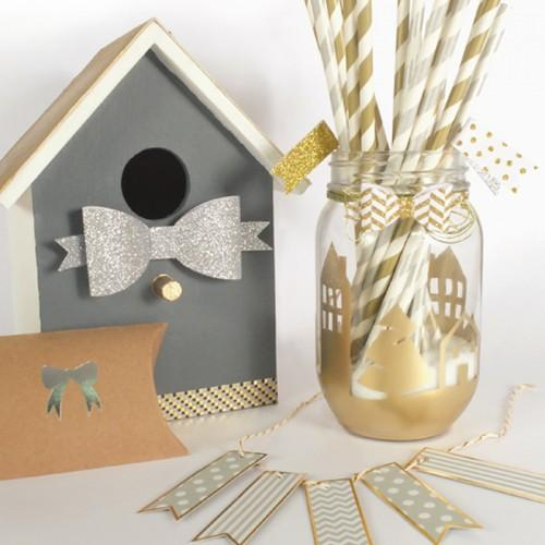 25 paper straws 20 cm - golden