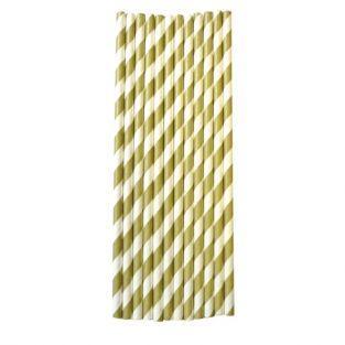 25 pailles en papier 20 cm - doré