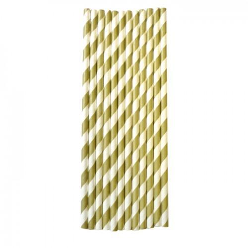 25 pajita de papel 20 cm - oro