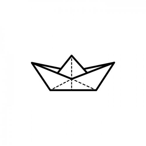 Tampon bois - bateau origami