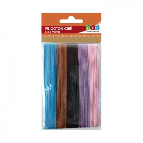 Cotton waxed thread 5 colors - 5 x 5 m