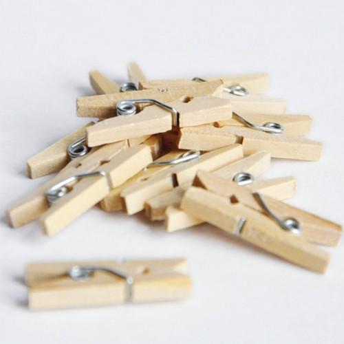 Mini wood clothespins x 20