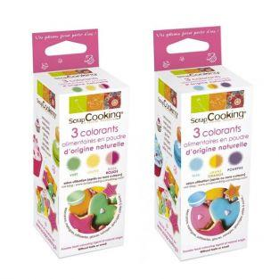 Box natural food colors (red, yellow, green, orange, blue, purple)