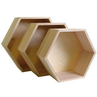 3 hexagonal wooden shelves