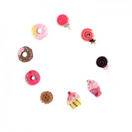 18 mini gourmet Decorations Fimo - Sweets