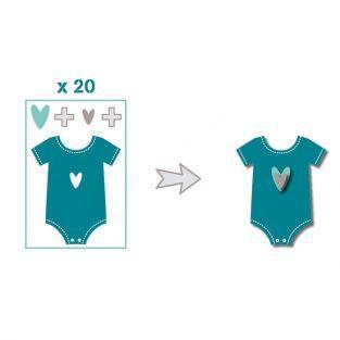 20 formas cortadas body de bebé - gris-azul
