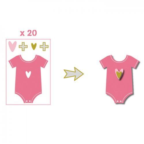 20 formes découpées body rose-vert-gris