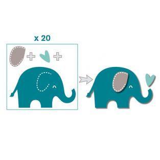 20 formes découpées éléphants bleu taupe