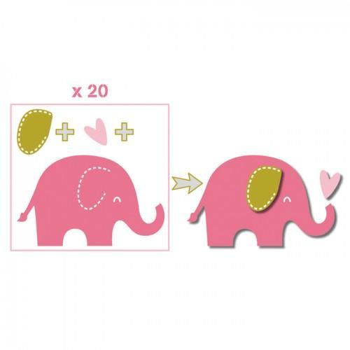 20 formes découpées éléphants rose-vert taupe