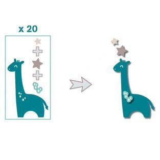 20 formes découpées girafes bleu taupe