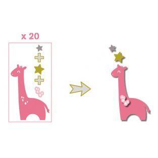 20 formes découpées girafes rose-vert taupe