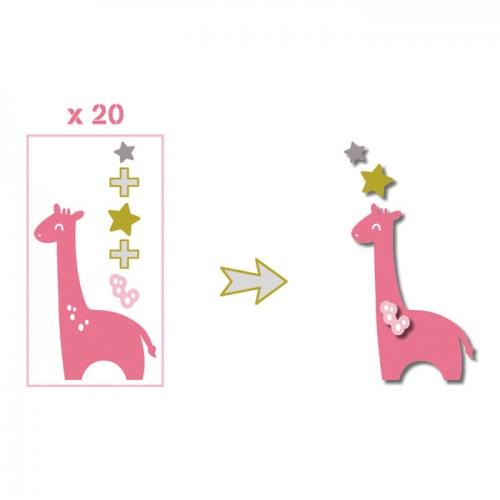 20 shapes cut giraffes pink-green-gray giraffes green taupe