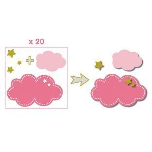 20 formes découpées nuages rose-vert-gris