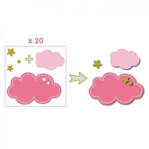 20 formas cortadas nubes - rosa-verde-gris