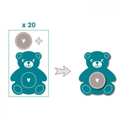 20 shapes cut teddy bear blue-gray