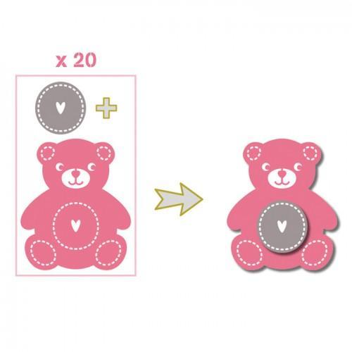 20 formas cortadas peluche rosa-verde-gris