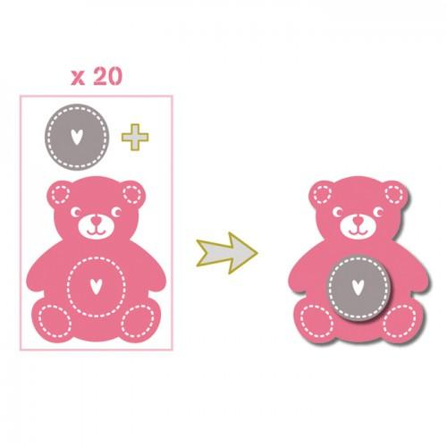 20 formes découpées nounours rose-vert-gris