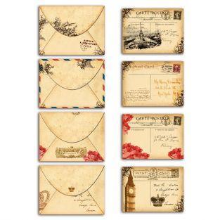 Set 4 tarjetas + 4 sobres antiguos