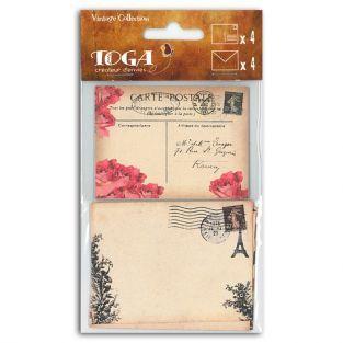 Set 4 vintage cards + 4 envelopes