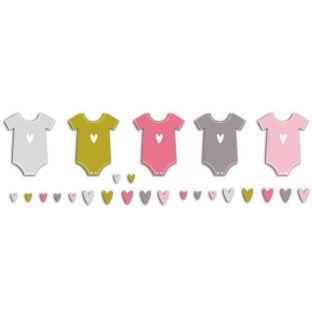 20 formas cortadas body de bebé - rosa-verde-gris