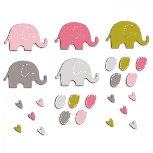 20 formas cortadas elefantes - rosa-marrón-verde
