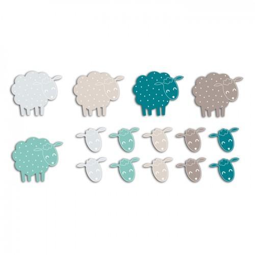 20 formes découpées moutons bleu taupe