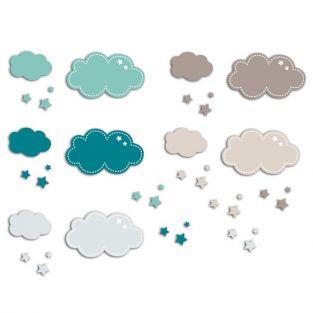 20 formas cortadas nubes - azul-gris