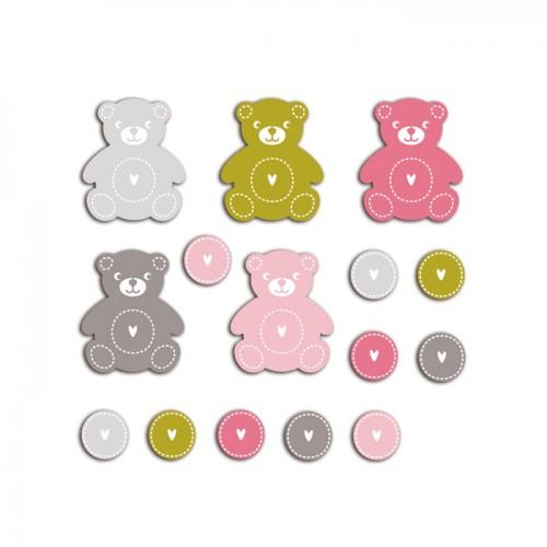 20 shapes cut teddy bear pink-green-gray