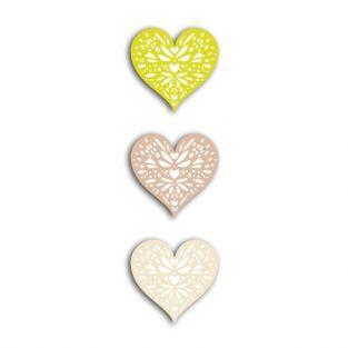24 formes découpées cœurs vert-taupe-beige