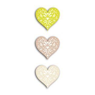 24 shapes cut hearts green-gray-beige