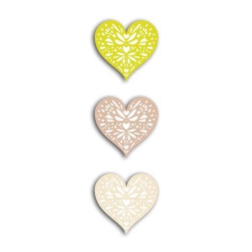 24 shapes cut hearts green-gray-beige